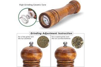 Oak Wood Spice Pepper Mills - Pepper and Salt Grinders, Pepper Shaker with Ceramic Grinding Mechanism, Adjustable Coarseness - 20cm