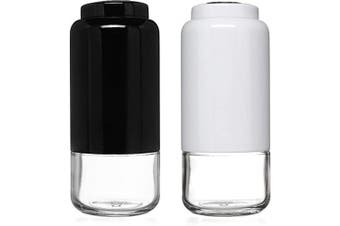 (Black/White) - CHEFVANTAGE Salt and Pepper Shakers Set with Adjustable Pour Holes - Black and White