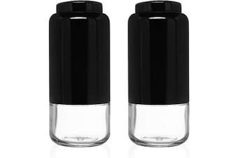 (Black) - CHEFVANTAGE Salt and Pepper Shakers Set with Adjustable Pour Holes - Black