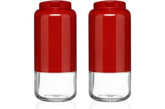 (Red) - CHEFVANTAGE Salt and Pepper Shakers Set with Adjustable Pour Holes - Red