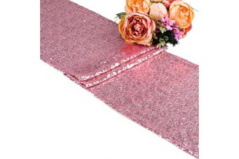 "(1, 12""x108""/Pink) - 270cm /300cm Sequin Gold Silver Wedding Table Runners Red Sparkly Table Runner Shinny Glitter for Banquet Party 3 Size/5 Colours Pack of 1 5 10 (30cm x 270cm /Pink, 1)"