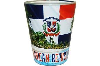(Dominican Beach) - CityDreamShop's Dominican Republic Beach Design Souvenir Shot Glass- Featuring the Dominican Flag
