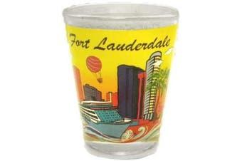 (Lauderdale) - Fort Lauderdale, Florida Yellow Skyline and Cruise Ship Souvenir Shot Glass
