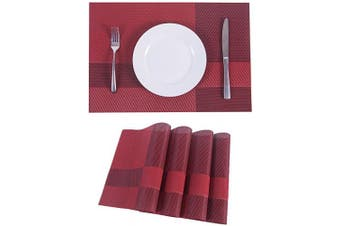 (4, Plaid-red) - SUNSHINE FASHION Placemats,Placemats for Dining Table,Heat-Resistant Placemats, Stain Resistant Washable PVC Table Mats,Kitchen Table mats