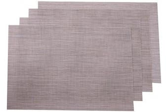 (4, Linen) - SUNSHINE FASHION Placemats,Placemats for Dining Table,Heat-Resistant Placemats, Stain Resistant Washable PVC Table Mats,Kitchen Table mats (4, Linen)