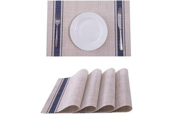(4, Blue) - SUNSHINE FASHION Placemats,Placemats for Dining Table,Heat-Resistant Placemats, Stain Resistant Washable PVC Table Mats,Kitchen Table mats (4, Blue)