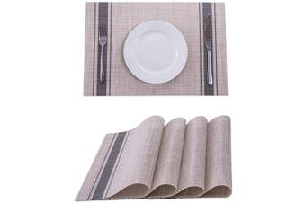 (4, Dark Gray) - SUNSHINE FASHION Placemats,Placemats for Dining Table,Heat-Resistant Placemats, Stain Resistant Washable PVC Table Mats,Kitchen Table mats (4, Dark Grey)