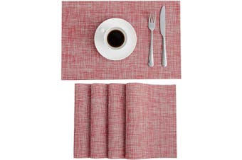 (4, Pink) - SUNSHINE FASHION Placemats,Placemats for Dining Table,Heat-Resistant Placemats, Stain Resistant Washable PVC Table Mats,Kitchen Table mats (4, Pink)