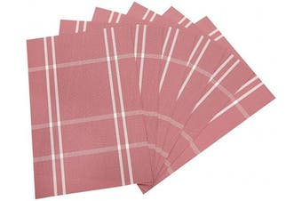 (6, 6:plaid-pink) - SUNSHINE FASHION Placemats,Placemats for Dining Table,Heat-Resistant Placemats, Stain Resistant Washable PVC Table Mats,Kitchen Table mats (6, 6:Plaid-Pink)