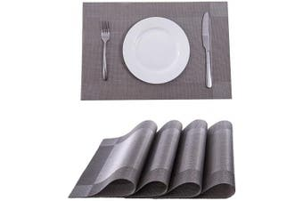 (4, Silver) - SUNSHINE FASHION Placemats,Placemats for Dining Table,Heat-Resistant Placemats, Stain Resistant Washable PVC Table Mats,Kitchen Table mats (4, Silver)