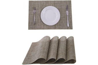 (4, Beige) - SUNSHINE FASHION Placemats,Placemats for Dining Table,Heat-Resistant Placemats, Stain Resistant Washable PVC Table Mats,Kitchen Table mats
