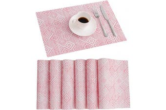 (6, Diamond-red) - SUNSHINE FASHION Placemats,Placemats for Dining Table,Heat-Resistant Placemats, Stain Resistant Washable PVC Table Mats,Kitchen Table mats (6, Diamond-Red)