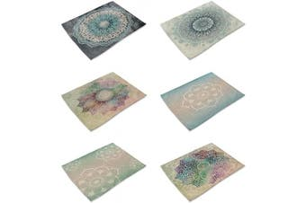(Mandala-7) - HACASO Set of 6 Vintage Style Mandala Pattern Dining Table Mats Cotton Linen Placemats(2)