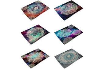 (Mandala-6) - HACASO Set of 6 Vintage Style Mandala Pattern Dining Table Mats Cotton Linen Placemats(1)