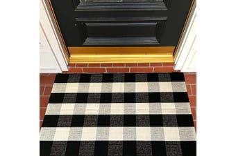 (70cm  × 43'', Black/White) - Buffalo Cheque Rug 70cm × 43'' Cotton Hand-Woven Outdoor Rugs for Porch Farmhouse Layered Door Mats Front Porch Décor