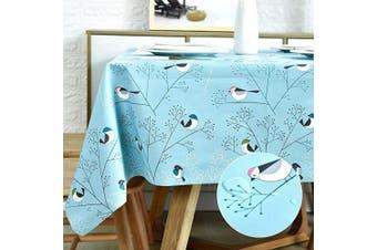 (140cm  x 270cm , Teal Bird) - LOHASCASA Rectangle Vinyl Tablecloth Wipeable Oil-Proof Waterproof PVC Heavy Duty Long Oilcloth Tablecloth Turquoise Bird 140cm x 270cm