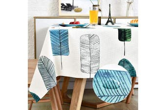 (140cm  x 210cm , Leaves) - LOHASCASA Vinyl Oilcloth Tablecloth Rectangle Spillproof Wipeable Stainproof PVC Plastic Waterproof Tablecloths for Birthday,Christmas,Banquet Kitchen Dining Tablecloth - Colourful Leaf 140cm x 210cm