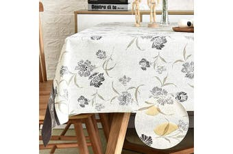 (140cm  x 140cm , Flower) - LOHASCASA Square Vinyl Oilcloth Tablecloth Water Resistant/Oil-Proof Wipeable PVC Heavy Duty Plastic Tablecloths for Kitchen Small - Fall Floral Grey 140cm x 140cm