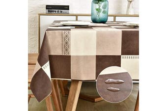 (140cm  x 200cm , Plaid) - LOHASCASA PVC Tablecloth Oilcloth Plastic Wipeable Spill Proof - Oil Vinyl Tablecloths Luau Coffee Table - Tan and Brown Buffalo Plaid 140cm x 200cm