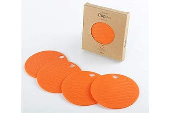 (Cup Mats-4pcs-orange) - liflicon Silicone Cup Mats Colourful Table Placements Anti-Skid Coffee Coaster Cushion Placemat Pads-4pcs-4pcs-Orange