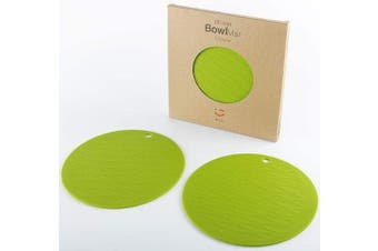 (Bowl Mta-2pcs-green) - liflicon Premium Food-Grade Silicone Bowl Mat Heat Insulated Placemat Non-Slip Multipurpose Trivet Mats 2 pcs-Green