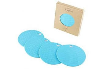 (Cup Mats-4pcs-blue) - liflicon Silicone Cup Mats Colourful Table Placements Anti-Skid Coffee Coaster Cushion Placemat Pads-4pcs-4pcs-Blue