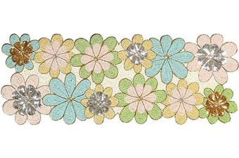 (16x54, Blue Green Nude Silver Multi) - Beaded Table Runner 140cm , Glitz Table Runner, Decorative Table Runner, Farmhouse Table Runner - A Beautiful Complement to Your Dinner Table Décor - Leaf Design - 41cm x 140cm - Blue Green Nude Multi