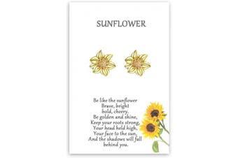 (Cute Sunflower Earrings) - Cheerslife Sunflower Jewellery for Women Girls Daisy Boho Friendship Bracelet Dainty Necklace Earrings Gift for Friends