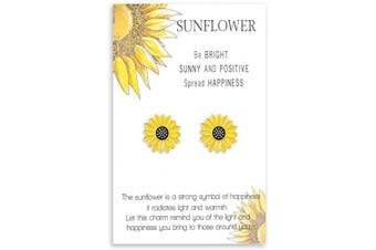 (Boho Sunflower Earrings) - Cheerslife Sunflower Jewellery for Women Girls Daisy Boho Friendship Bracelet Dainty Necklace Earrings Gift for Friends