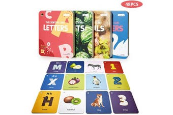 (Cognitive Learning Cards) - beiens Baby Flash Cards Set, 48 Pcs Double-Sided ABC Flashcards with Rings Educational Developmental Learning Toys for Infants Toddlers Birthday Preschool Gifts (Alphabet, Numbers, Animals, Fruit)