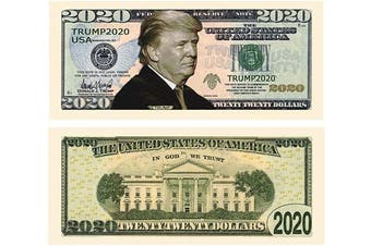 (100) - American Art Classics Donald Trump 2020 Re-Election - Pack of 100 - Presidential Dollar Bill - Limited Edition Novelty Dollar Bill. Full Colour Front & Back Printing with Great Detail.