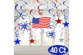 Fourth July Decorations-40 Ct Hanging Swirls with Americans Flag/Stars, Red White and Blue Patriotic Decoration for 4th July Memorial Day Party Supplies for Home Outdoor