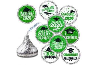 Graduation Stickers - Graduation Party Favour, Newest Design Glitter Green Stickers - 270 Stickers