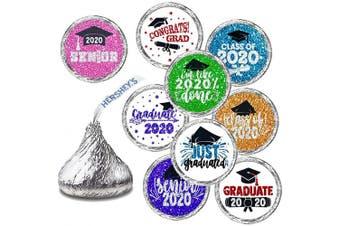 Graduation Stickers - Graduation Party Favour, Newest Design Glitter Multicoloured Stickers - 270 Stickers