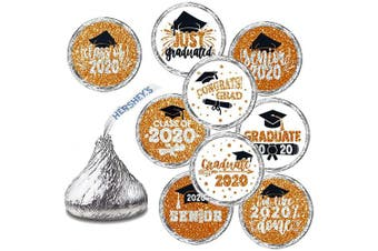 Graduation Stickers - Graduation Party Favour, Newest Design Glitter Orange Stickers - 270 Stickers