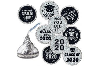 Graduation Stickers - Graduation Party Favour, Newest Design Silver Shiny Stickers - 270 Stickers