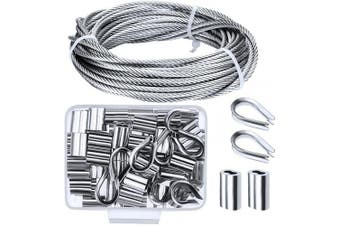 (1/8 Inch) - Canomo Cable Railing Kits Includes 0.3cm x 10m 304 Stainless Steel Wire Cable, 50 Pieces Aluminium Crimp Sleeves and 10 Pieces Stainless Steel Thimble for Railing,Decking, Picture Hanging