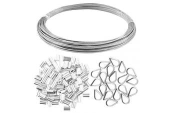 (0.2cm ) - Yookat Wire Rope Cable Includes 0.2cm x 20m Stainless Steel Wire Rope Cable 100Pcs Aluminium Crimping Sleeves and 20Pcs Stainless Steel Thimble Cable Railing Kits