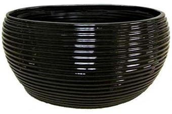 (Hl - Black) - Admired By Nature Glazed Black Oval Pot w/Horizontal Line Indents