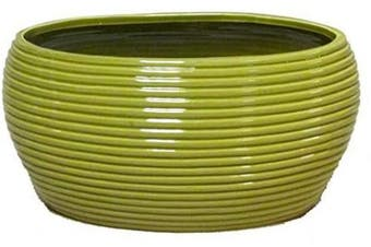 (Hl - L. Green) - Admired By Nature Glazed Lime Green Oval Pot w/Horizontal Line Indents