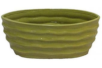 (Wd - L. Green) - Admired By Nature Glazed Lime Green Long Oval Pot w/Wave Design