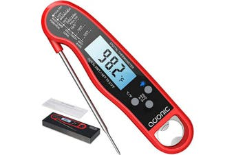 (Red) - Digital Meat Thermometer, Adoric Ultra-Fast Reading Waterproof Thermometer with Backlight Calibration Digital Food Thermometer for Kitchen, BBQ, and Grill