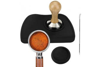 Stainless Steel Wooden Coffee Tamper 51mm Flat Ripple Tamper Espresso Tamper Mat Coffee Tamper Mat with Art Decorating Pen Coffee Art Pen