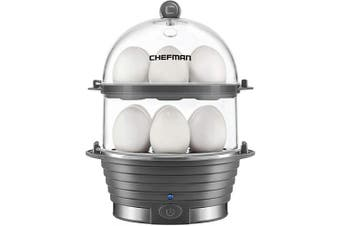 (Grey) - Chefman Electric Egg Cooker Boiler, Rapid Egg-Maker & Poacher, Food & Vegetable Steamer, Quickly Makes 12 Eggs, Hard or Soft Boiled, Poaching and Omelette Trays Included, Ready Signal, BPA-Free, Grey