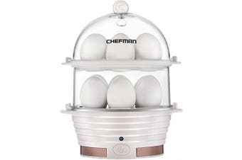 (Ivory) - Chefman Electric Egg Cooker Boiler, Rapid Egg-Maker & Poacher, Food & Vegetable Steamer, Quickly Makes 12 Eggs, Hard or Soft Boiled, Poaching and Omelette Trays Included, Ready Signal, BPA-Free, Ivory