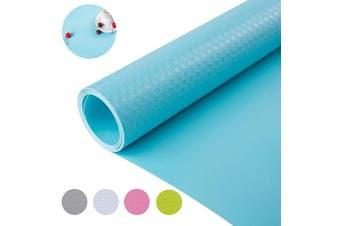 (45cm  x 450cm , Blue) - Non Slip Water-Poof Shelf Liner Drawer Liner Cabinet Liner Non-Adhesive for Kitchen Shelf Drawer Cabinet 45cm x 450cm - Blue