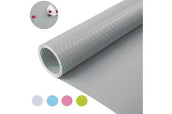 (45cm  x 300cm , Grey) - Bloss Shelf and Drawer Liner Fridge Liner Non Adhesive Water-Poof Durable Mat for Shelf, Kitchen 45cm x 300cm - Grey