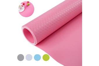 (45cm  x 150cm , Pink) - Bloss Plastic Shelf Liners Cabinet Drawer Liner Shelf Liner Refrigerator Mat Cupboard Pad for Kitchen Home-Pink 45cm ×150cm