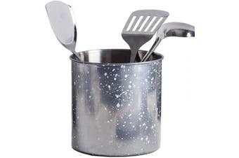 (16cm  Diameter X 17cm  High, Grey Speckle) - Palais Essentials Stainless Steel Kitchen Utensil Holder - Crock Organiser Caddy - Great for Large Cooking Tools (16cm Diameter X 17cm High, Grey Speckle)
