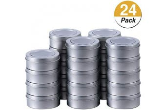 (24) - 60ml Metal Tin Cans Round Empty Container Cans with Clear Top for Kitchen, Office, Candles, Candies, Small Crafts (24)